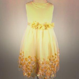 Girls Formal Yellow Satin Floral Embellished Dress